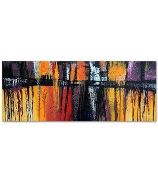 Schilderij - Panorama abstract, multi-gekleurd, 150x60, premium print