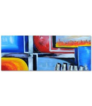 Schilderij - Panorama abstract, blauw/rood, 150x60