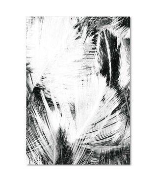 Schilderij - Abstracte palmblad, zwart-wit, 3 maten, wanddecoratie