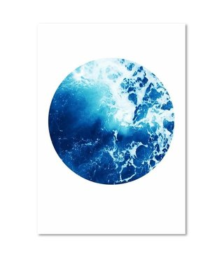Schilderij - Blauwe Abstractie, 3 maten, premium print