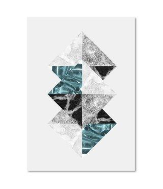 Schilderij - Abstracte vierkanten,  3 maten, wanddecoratie