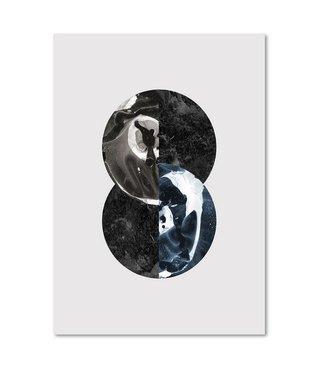 Schilderij - Abstractie in het rond, 3 maten, wanddecoratie