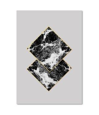 Schilderij - Abstracte marmeren tegels, 3 maten, wanddecoratie