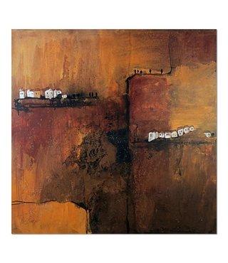 Schilderij - Huisjes op de berg, abstract, 80x80cm, premium print