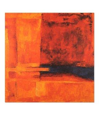 Schilderij - Abstractie in rood en oranje, 80x80cm, premium print