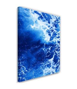 Schilderij  , Blauwe golven , 80x120cm , wanddecoratie , Premium print