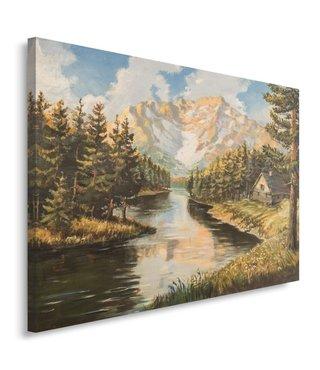 Schilderij - Berglandschap, print op canvas, premium print, 100x70cm