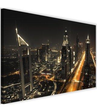 Schilderij - Dubai bij nacht, prachtig overzicht,  120x80cm. premium print