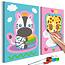 Doe-het-zelf op canvas schilderen - Zebra & Leopard (Pink & Blue)