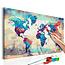 Doe-het-zelf op canvas schilderen - World Map (Blue & Red)