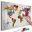 Doe-het-zelf op canvas schilderen - World Map (Compass Rose)