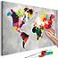 Doe-het-zelf op canvas schilderen - World Map (Bright Colours)