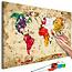 Doe-het-zelf op canvas schilderen - World Map (Colour Splashes)