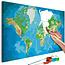 Doe-het-zelf op canvas schilderen - World Map (Blue & Green)