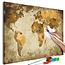 Doe-het-zelf op canvas schilderen - Brown World Map