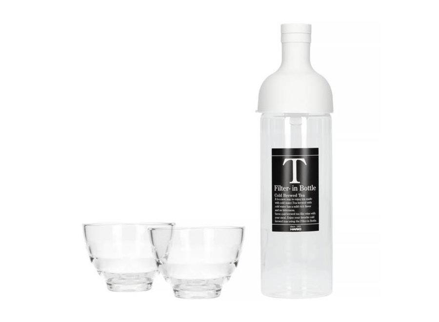 Waterfilterfles Lichtgrijs + Yunomi Theeglaasjes 2 stuks