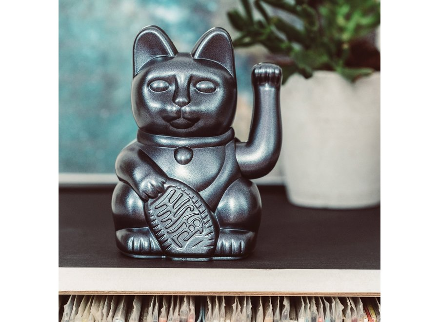 "Lucky Cat Geluksbrenger - Metallic Grey ""Galaxy"""