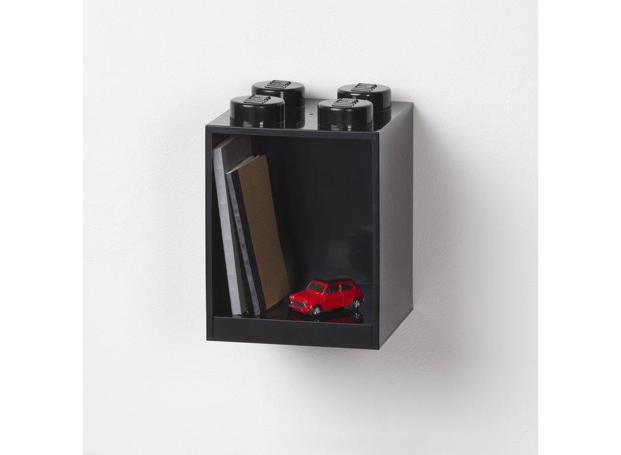 Lego Brick 4 Wandplank Zwart