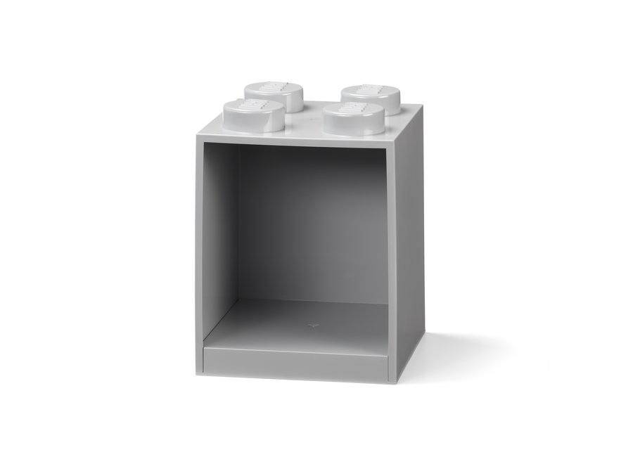 Lego Brick 4 Wandplank Grijs