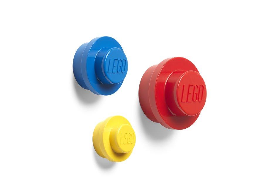Wandknoppen, 3 Stuks Rood Blauw Geel