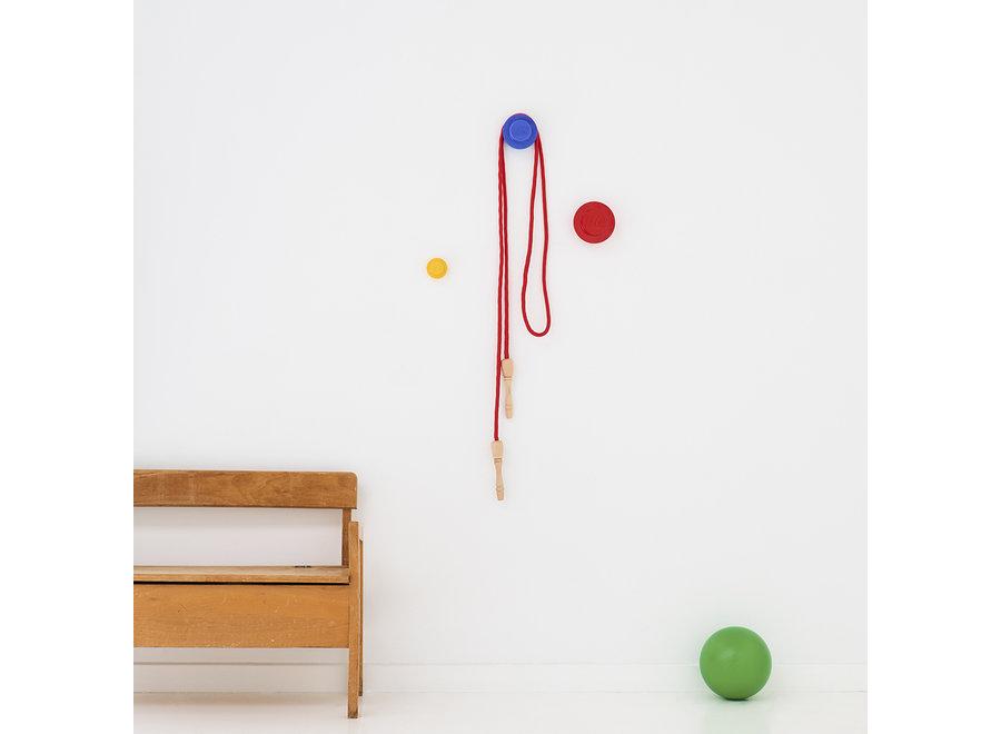 Wandknoppen Set van 3 Rood Blauw Geel