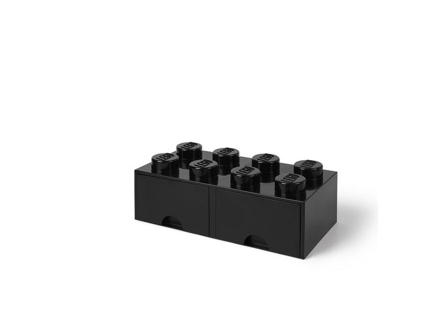 Brick 8 Opbergbox 2 Lades Zwart