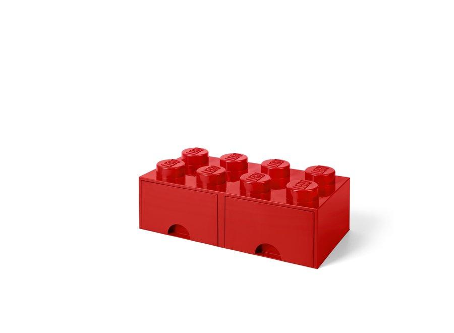 Brick 8 Opbergbox 2 Lades Rood