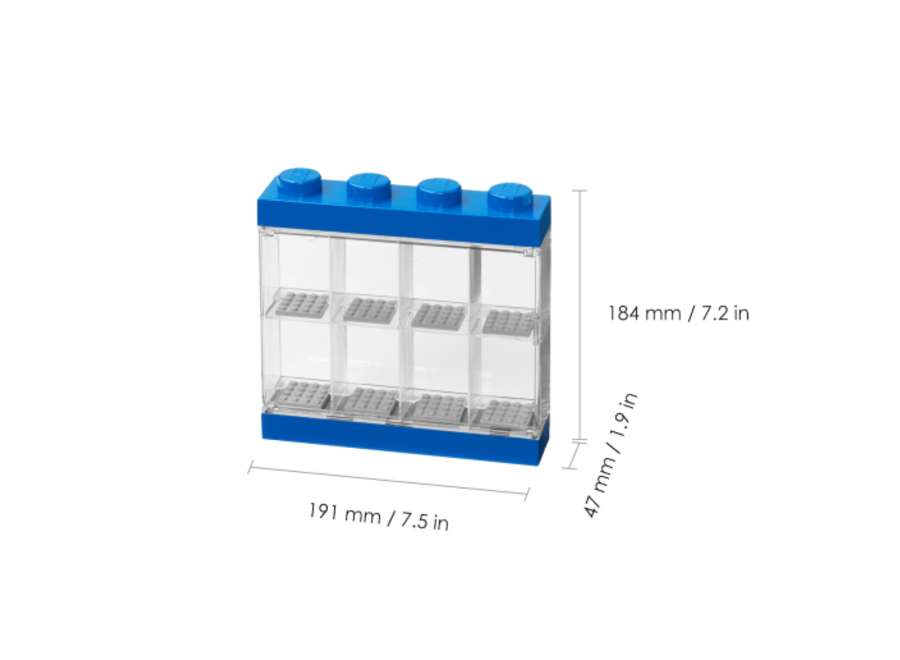 Minifiguur 8 Display Case Blauw