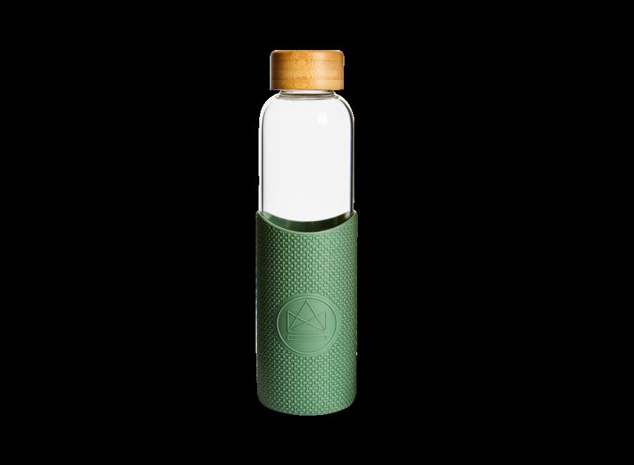 Glazen Drinkfles Happy Camper - Groen