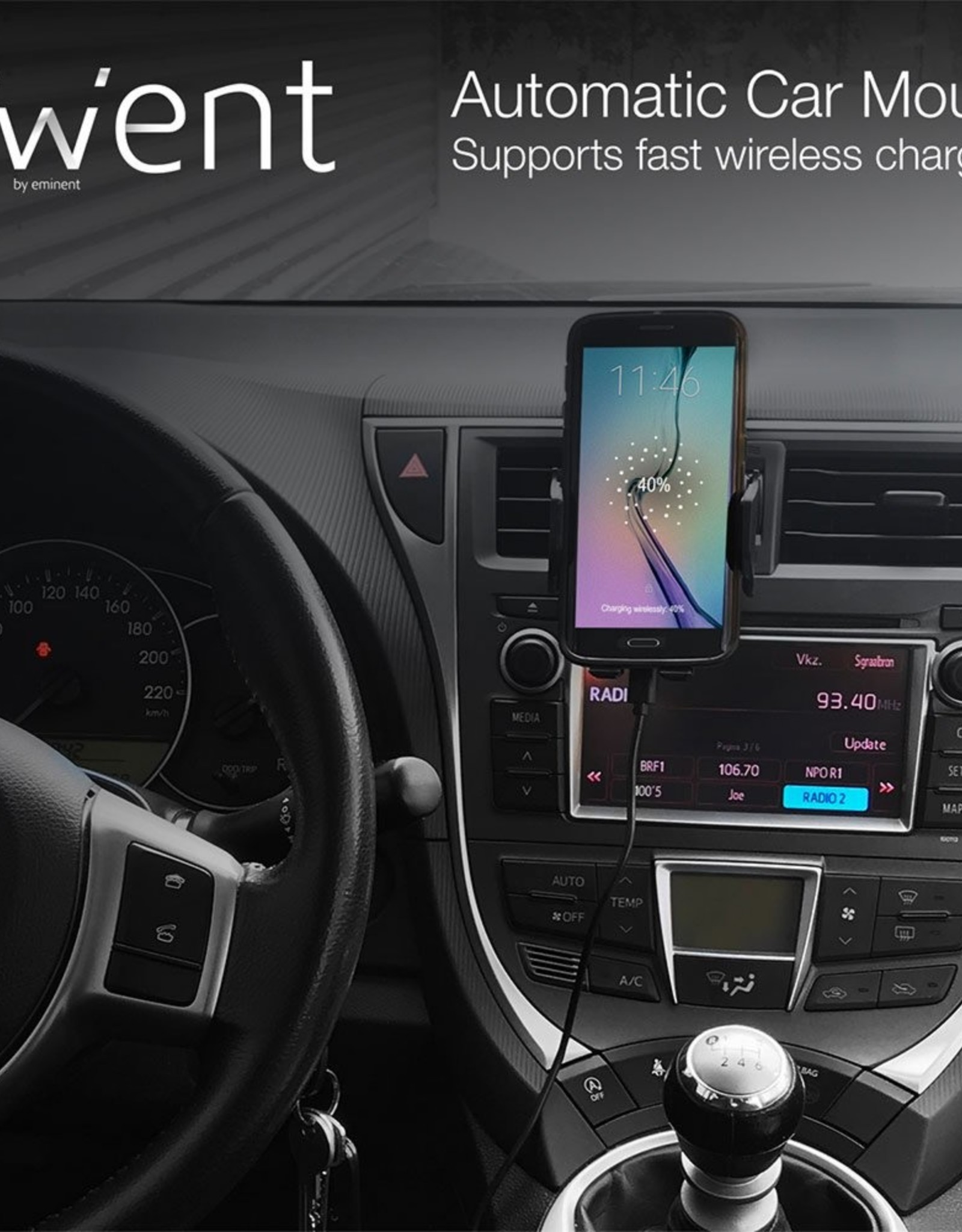 Automatic Smartphoneholder Car + Wireless FastCharge