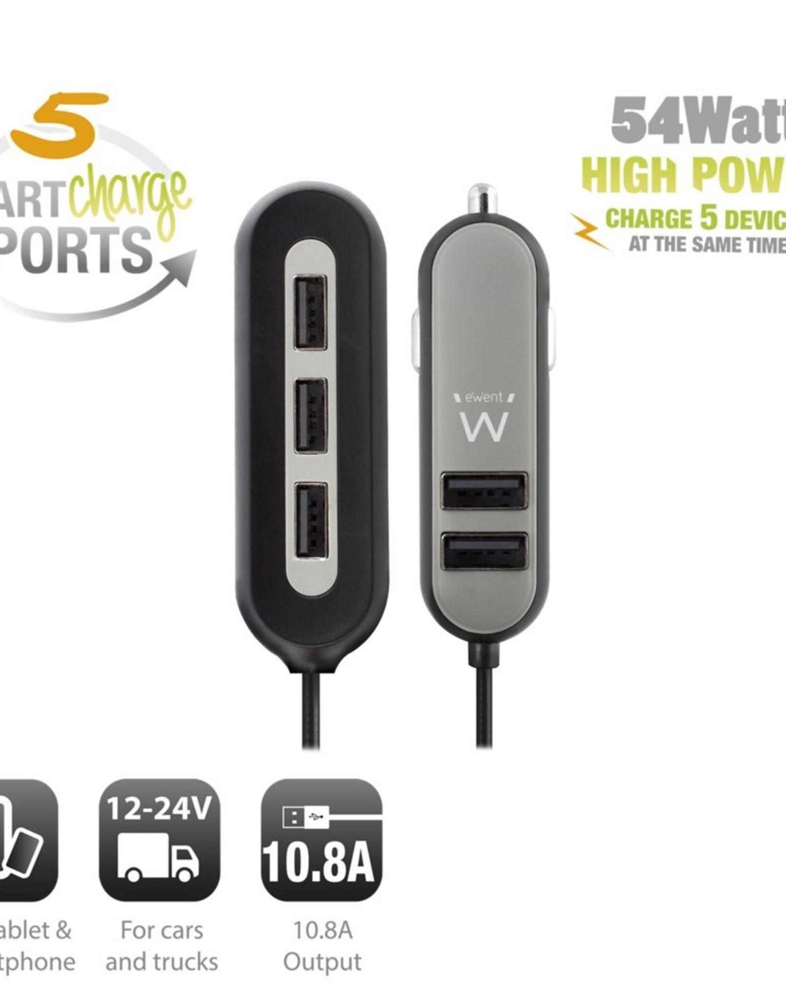 USB Car Charger two + three port 10.8A