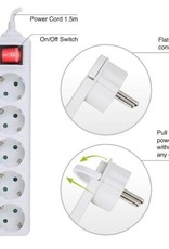 Power Strip white, with switch and flat plug, 5 plugs