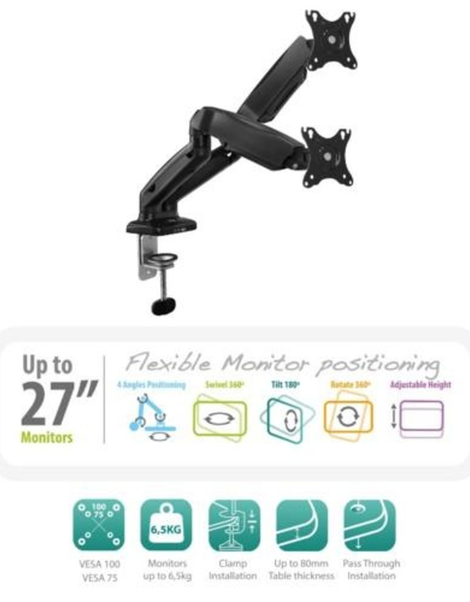 Monitor desk mount stand gas spring 2 LCD