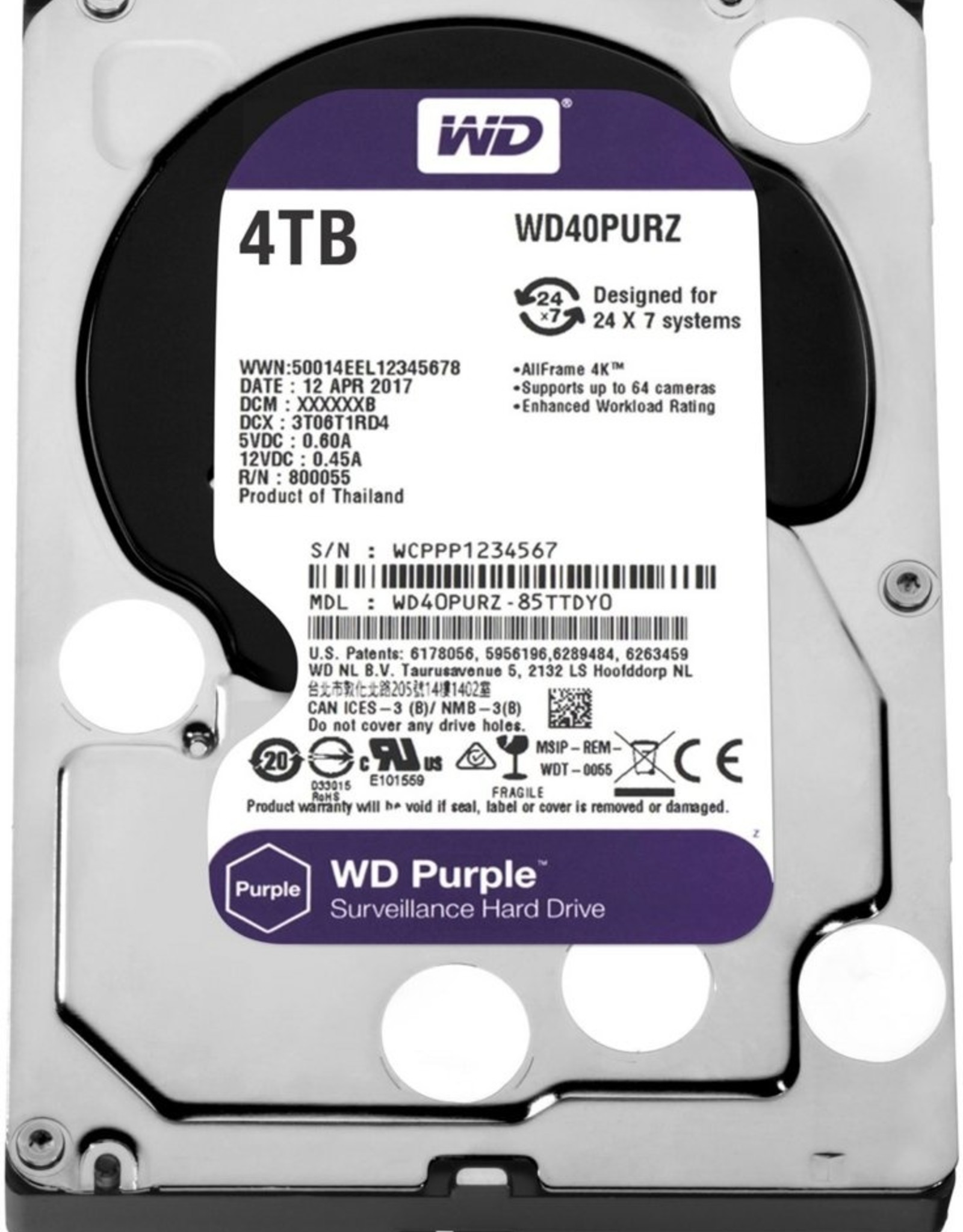 HDD WD Purple™ 4TB IntelliPower - 64MB - SATA3 (2017) 3.5inc