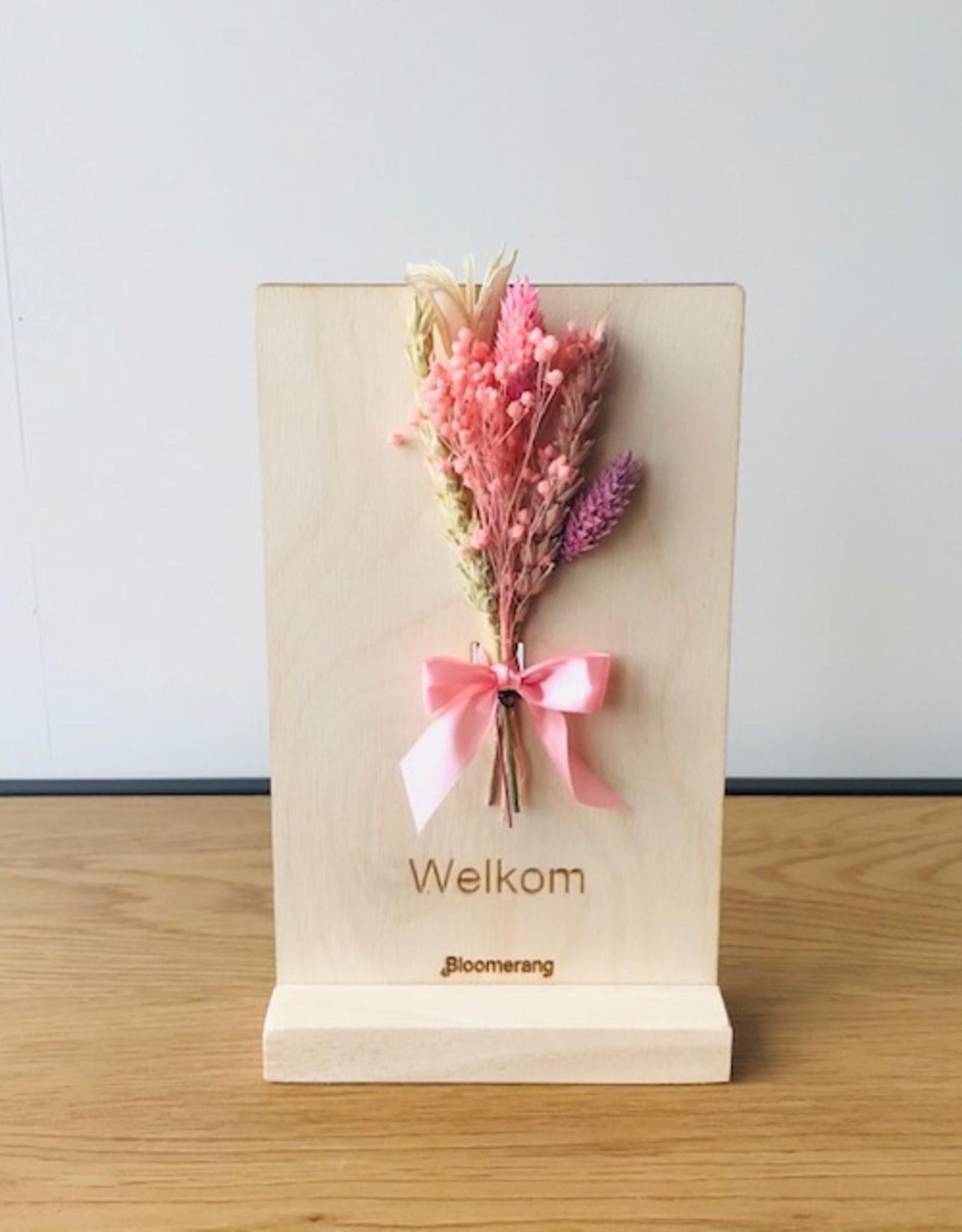 Bloemenkaart WELKOM roze