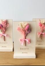 Bloemenkaart BEDANKT roze
