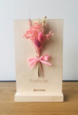 Bloemenkaart PROFICIAT roze