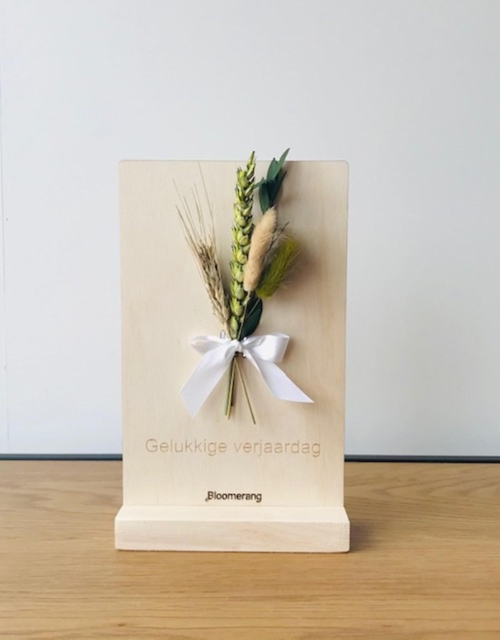 Bloemenkaart GELUKKIGE VERJAARDAG naturel