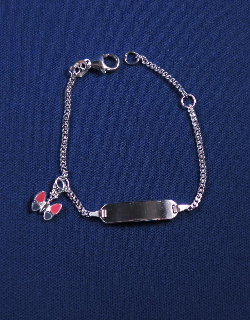 """Plaatarmbandje zilver """"vlinder"""" 11-13 cm"""