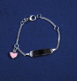 "Plaatarmbandje zilver ""roze hartje""9-11 cm"