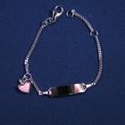 "Plaatarmbandje zilver ""roze hartje"" 11-13 cm"