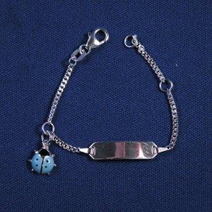 """Plaatarmbandje zilver """"Lieveheersbeesje blauw"""" 9-11 cm"""