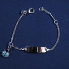 """Plaatarmbandje zilver """"Lieveheersbeesje blauw"""" 11-13 cm"""