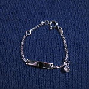"""Plaatarmbandje zilver """"zirconia"""" 9-11cm"""