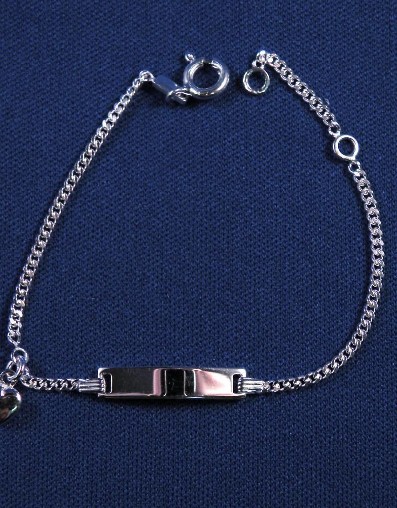 """Plaatarmbandje zilver """"hartje"""" 13-15cm"""