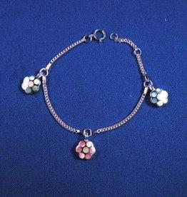 """Bedelarmbandje zilver """"bloem"""" 13-15cm"""