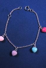 """Bedelarmbandje zilver """"hartjes"""" 4 kleuren, 13-15cm"""