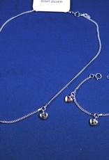 """Bedelarmbandje zilver """"hartjes met zirkonia"""" 11-13cm"""