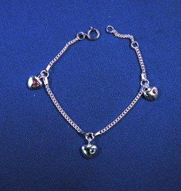 """Bedelarmbandje zilver """"hartjes met zirkonia"""" 13-15cm"""