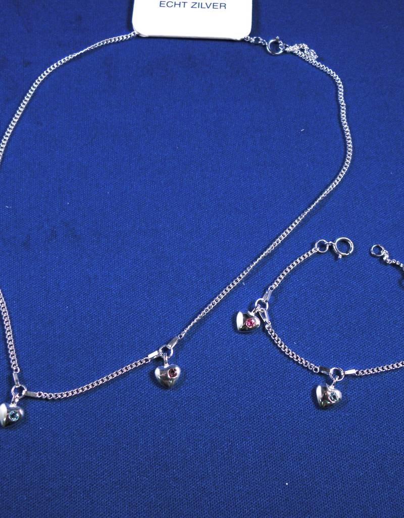"""Bedelcollier zilver """"hartjes met zirkonia"""" 36-38cm"""